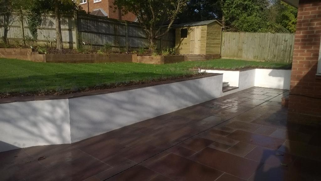 elevated lawn in modern garden