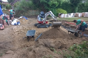 building foundations of a landscaped garden