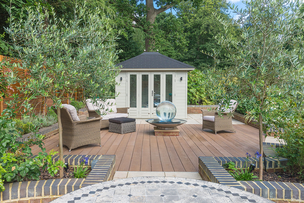 summer house in residential landscaped garden