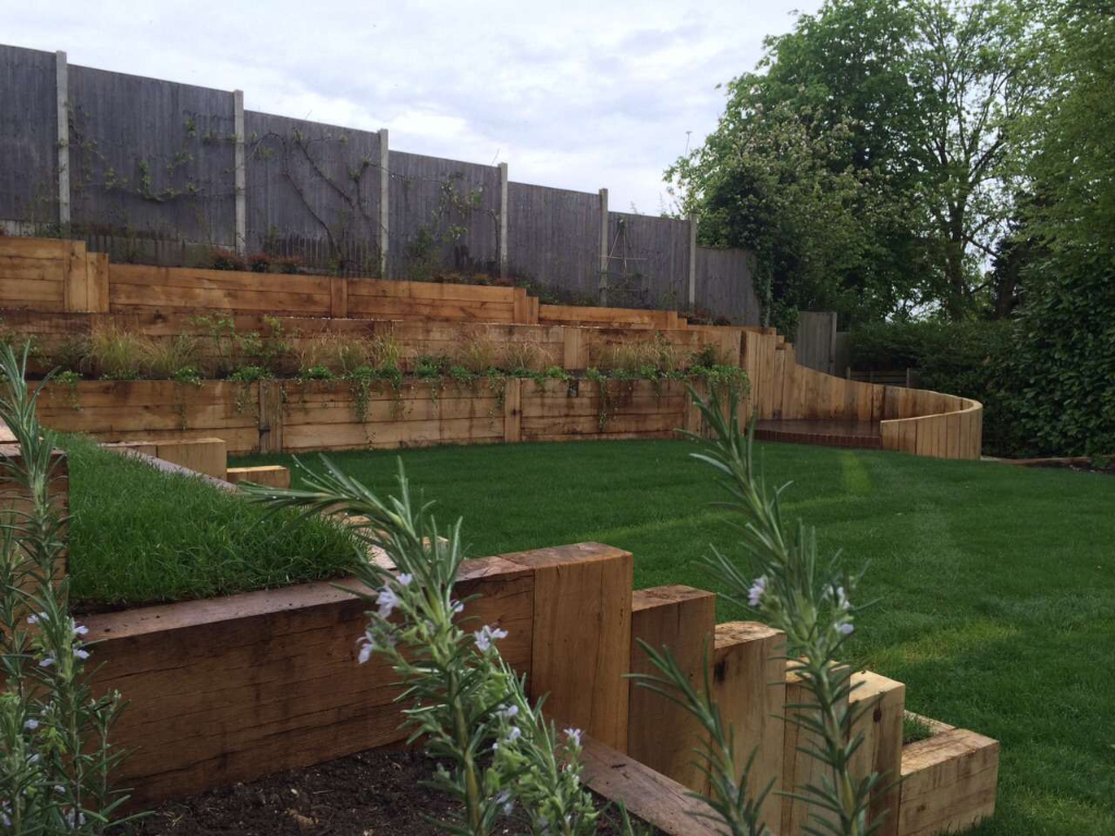 multi-level garden showing freshly laid grass