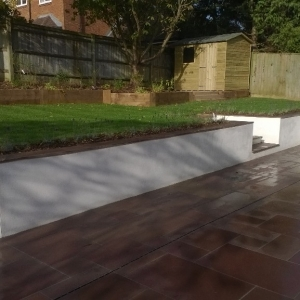 landscaped patio and separating wall