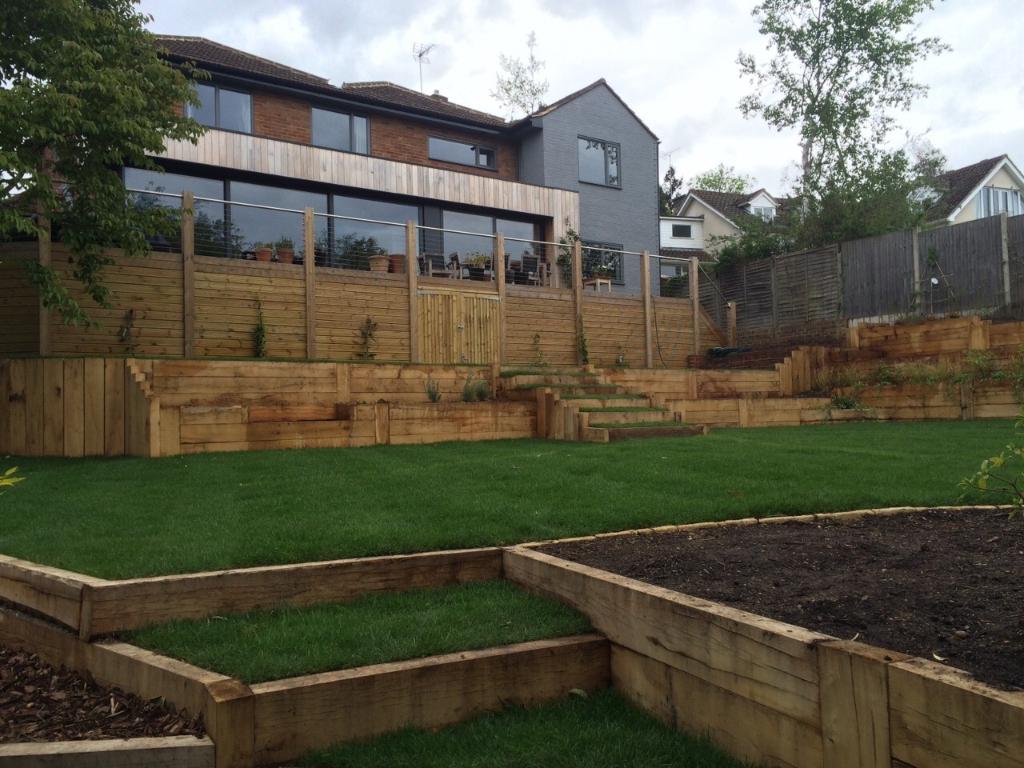 beautiful multi-tiered landscaped garden in Marlow