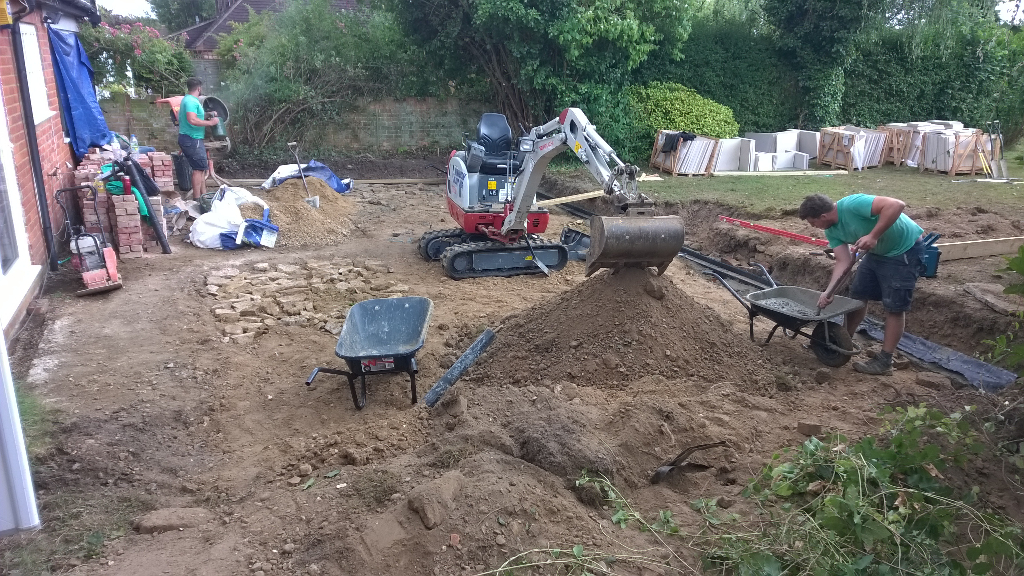 clearing the ground for the new patio