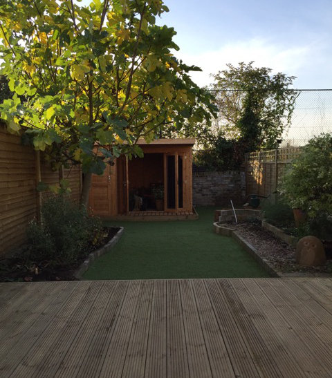 New decking and summerhouse in windsor garden