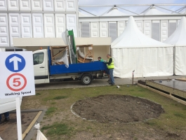 setting up at chelsea flower show
