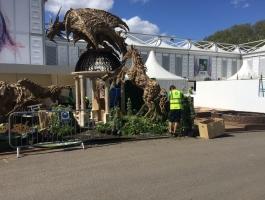 installing sculptures at chelsea flower show