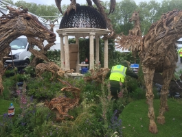 adding final touches at chelsea flower show
