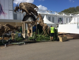 installing sculptures at chelsea flower show