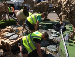 laying stone pathway at chelsea flower show