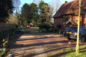 building foundations of a granite sett driveway