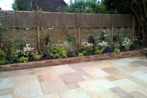 flower beds in residential landscaped garden