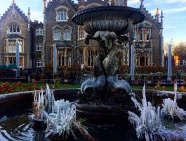 frozen fountain feature at oakley court