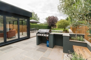 modern residential garden with built in gas bbq