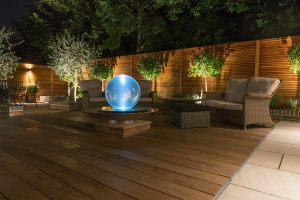 residential landscaped garden with glass feature