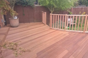 hardwood decking residential landscaped garden