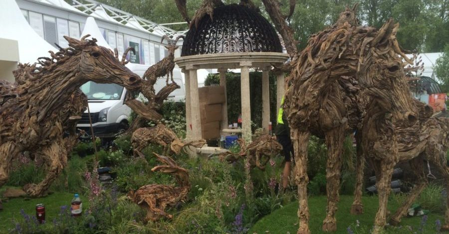 driftwood sculptures at Chelsea Flower Show 2015