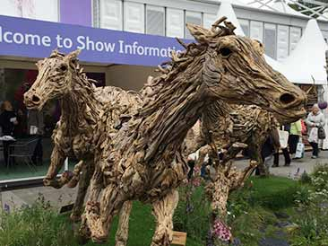 driftwood horse sculptures at Chelsea Flower Show