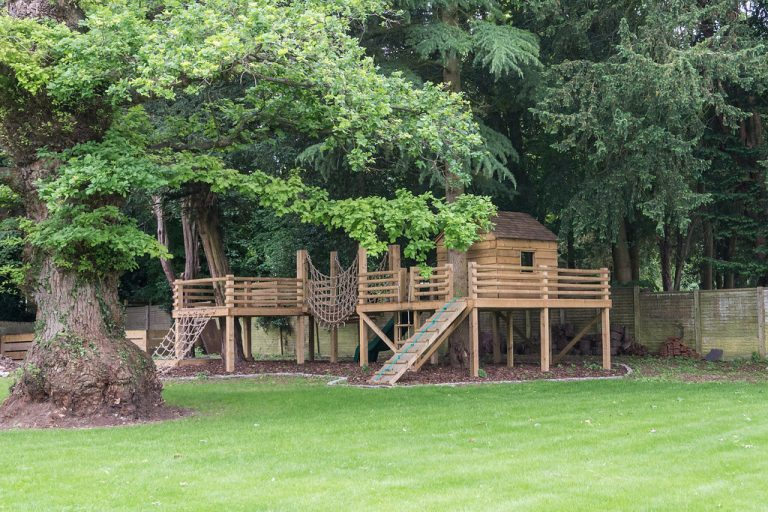 children's tree house and play area