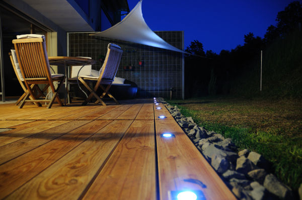 LED lights sunk into decking