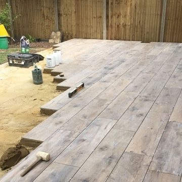 porcelain paving being laid