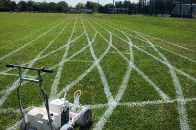marking lines on grass running track